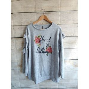 Lane Bryant Gray Long Sleeve Sweater Blouse